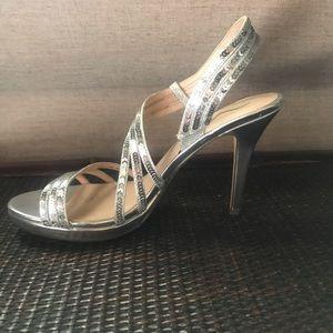 Strappy Silver Sequin Heels